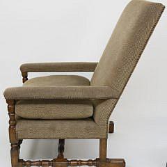 Oversized English Oak Upholstered Open Armchair