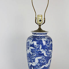 Chinese Blue and White Flying Crane Porcelain Lamp, 20th Century