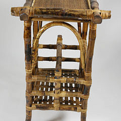 Vintage Bamboo and Rattan Book Side Table