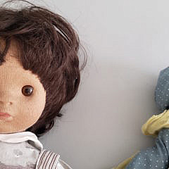 Two Vintage Porcelain Stupsi Dolls