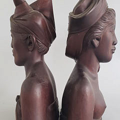 Pair of Antique Balinese Carved Mahogany Busts