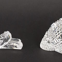 Two Baccarat and Waterford Crystal Shell and Rope Ornaments