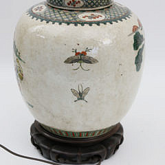 Chinese Porcelain Warrior Decorated Ginger Jar Lamp