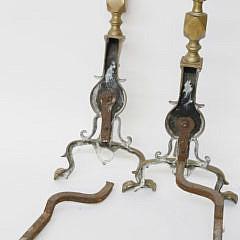 Pair of Newport Rhode Island Flame Top Brass Andirons, 18th Century