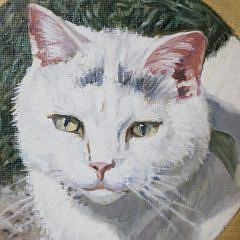 "Helen Wilson Sherman Oil on Canvas ""Portrait of a White Cat"""