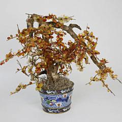 20-4621 Carnelian Tree in Cloisonne Pot A_MG_8832