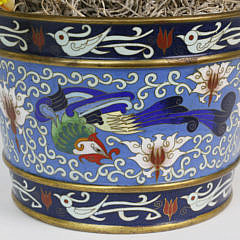 Chinese Carnelian Tree in a Cloisonne Pot, 20th century