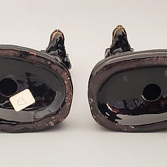Pair of 19th Century Black Glazed Staffordshire Whippets