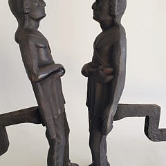 Pair of Vintage Cast Iron Figural Native American Andirons