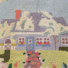 Vintage Claire Murray Hooked Rug of a Nantucket Cottage