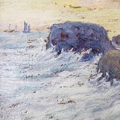 """19th Century Oil on Board, """"Rocky Cliffside"""""""