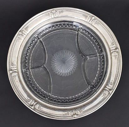 28-4199 Silver Crystal Serving Tray A