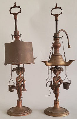 28696 Figural Oil Lamps A