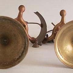 Pair Vintage Brass Portuguese Figural Oil Lamps