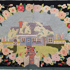 359_1 Vintage Claire Murray Hooked Rug of a Nantucket Cottage