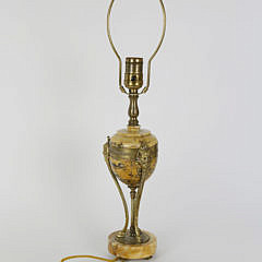 French Empire Marble and Bronze Lamp, mid 19th Century