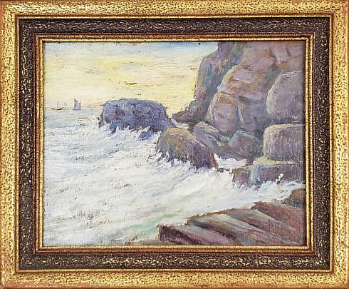 """369_1 19th Century Oil on Board, """"Rocky Cliffside"""", signed lower right, """"FON"""""""