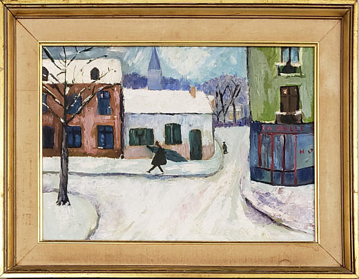 "370_1 Mid Century Oil on Artist Board, ""French Bistro"","