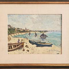 """Julia Brazy Oil on Board, """"Cliffside Beach, France"""""""