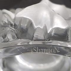 Signed Shannon Frosted Crystal Rose Pedestal Bowl