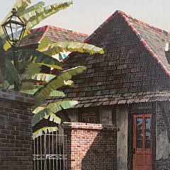 "James Kendrick III Oil on Canvas, ""Lafitte's Blacksmith Shop"""