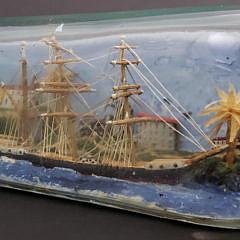 Vintage Folk Art Ship In a Bottle