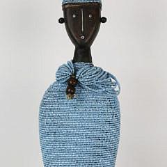 Cameroonian Trade Bead, Wood and Sea Shell Namji Doll, 20th Century