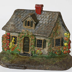 Vintage Painted Country Cottage Cast Iron Door Stop