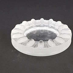 Signed Lalique French Frosted Glass Ashtray