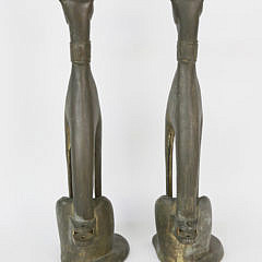 Pair of Signed M.E.K. Patina Bronze Seated Whippet Andirons, circa 1920