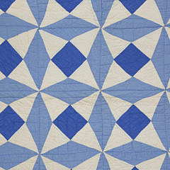 Shades of Blue On White Pinwheel Patchwork Quilt, circa 1930s
