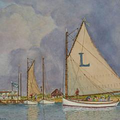 "John Hutchinson Watercolor ""The Lillian Arrives at the Wauwinet House"""