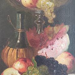 "Edward Leavitt Oil on Board, ""Fruit and Wine Still Life"", 19th Century"