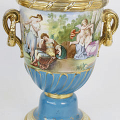Pair of Continental Classical Hand Decorated Urns, 19th century