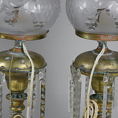 Pair of American Brass Argand Lamps, 19th Century