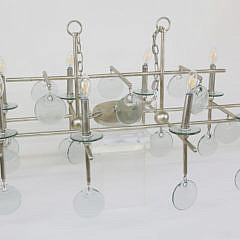 Contemporary Glass & Polished Chrome 8-Light Chandelier