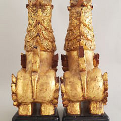 Pair of Carved and Gilt Tibetan Foo Dogs