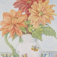"Barbara Van Winkelen Watercolor ""Dahlias in a Pitcher Still Life"""