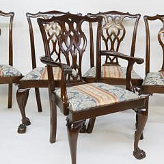 Set of Ten Centennial Chippendale Mahogany Dining Chairs, late 19th Century