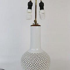 Chinese Blanc de Chin Pierced Vase Mounted as a Lamp, Contemporary