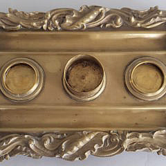 Antique Brass Shell Repousse Inkwell