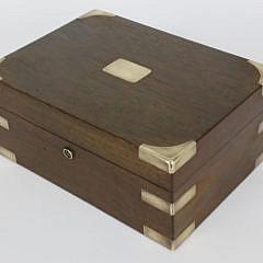 Mahogany and Brass Strapped Humidor Box, 19th century