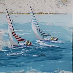 Kerry Hallam Acrylic on Coastal Chart – Long Island Sound, Nantucket Sound
