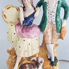19th Century Staffordshire Figural Group Mounted as a Lamp
