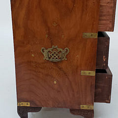 Chinese Teakwood Petite Campaign Style Chest of Drawers
