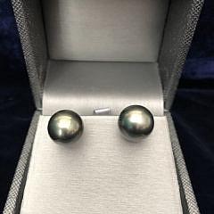 Pair of 12.5mm South Sea Tahitian Grey Pearl Earrings
