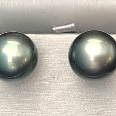 40073 13.2mm Tahitian Grey Pearl Earrings A IMG_6337